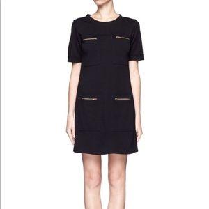 Wool Blend Gold Zipper Minimalist Shift Dress